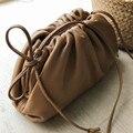 A bolsa de couro real envelope saco bolsas de luxo bolsas femininas designer volumoso forma arredondada bolsas e bolsas garras