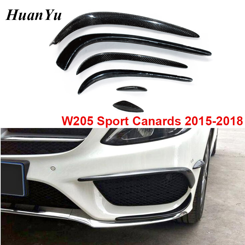 <font><b>W205</b></font> Carbon Fiber Front Bumper Flaps Splitter for Mercedes-benz C Class Sport Edition <font><b>AMG</b></font> Package Canards 2015-2018 C180 <font><b>C200</b></font> image