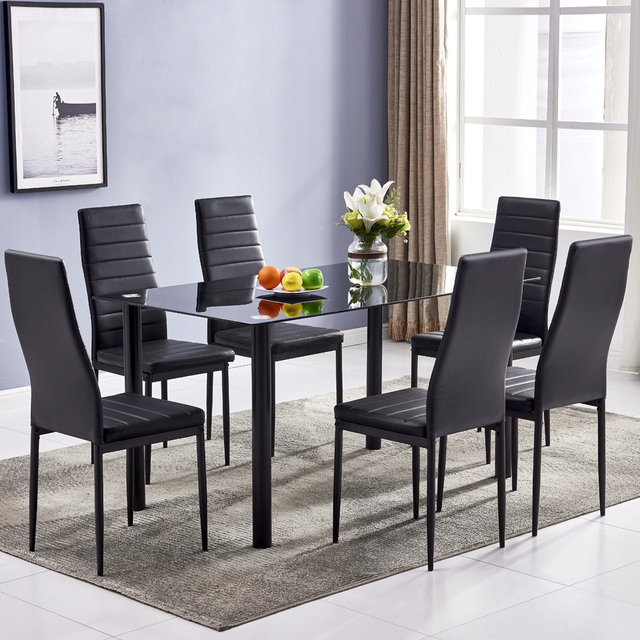 Dining Table Set Simple Round Tube Table Leg Table + 6pcs Elegant Stripping Texture High Backrest Dining Chairs Black[US-Stock] 6
