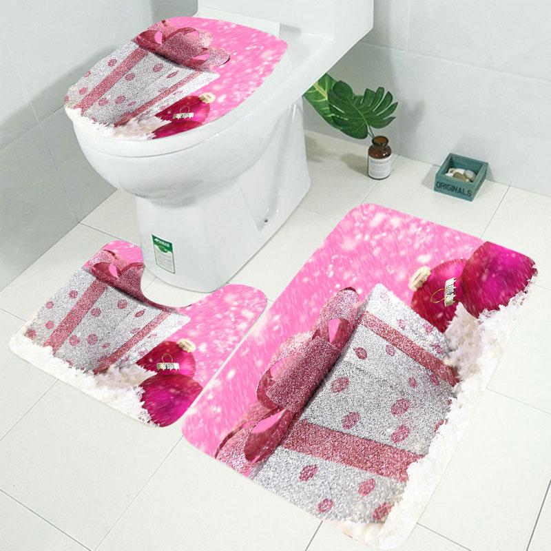 10 видов Рождественская задняя капля Снежный принт Водонепроницаемая занавеска для ванной комнаты занавеска для ванной унитаза коврик набор нескользящих ковриков - Цвет: RS005 3pcs Mat set