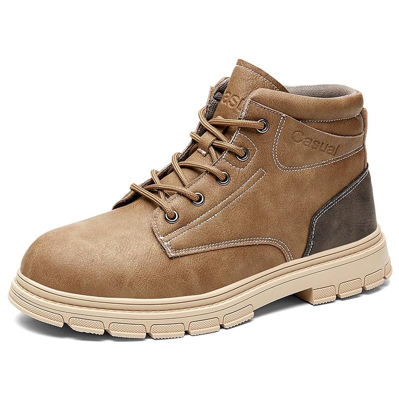 Men Shoes Male Boots High Top Boots Men Motorcycle Work Shoes Boots Men Pu Leather Ankle Boots Black Winter Shoes Men Size39- 44
