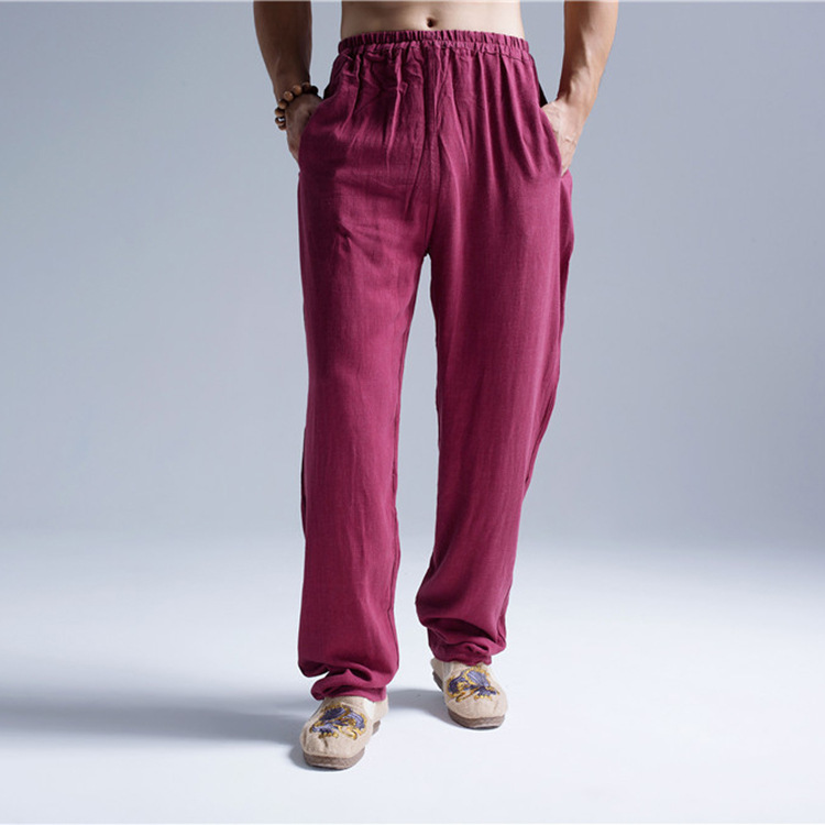 Chinese-style Men'S Wear Flax Spring And Autumn MEN'S Trousers Meditation Practice Pants Wide Cuffless Pants Solid Color Loose-F