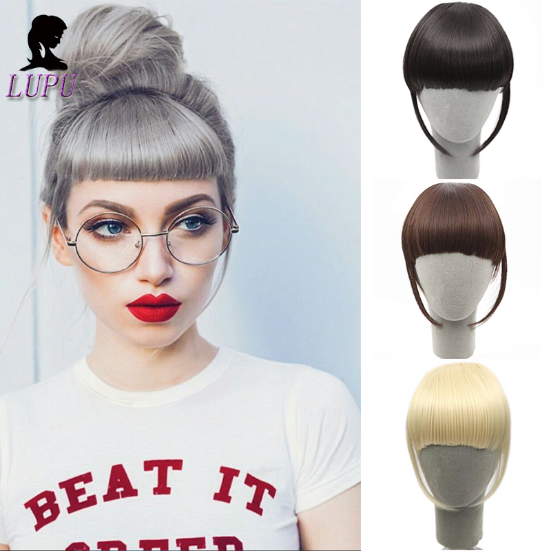 LUPU Black Brown Short Striaght Fringe Front Bangs Synthetic False Hair Extensions Clip In Hairpieces High Temperture Fiber