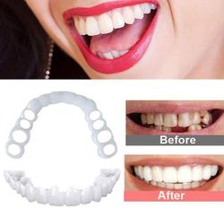 2Pcs Perfect Fit Teeth Whitening Fake Tooth Cover Snap On Silicone Smile Veneers Teeth Upper Beauty Tool Cosmetic Teeth