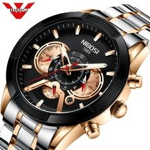 NIBOSI Luxury Quartz Mens Watches Multifunction Sport Chronograph