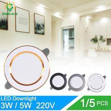 1/5 шт светильник 3W 5W 3000k 4000k 6500k светодиодный светильник переменного тока 220 V-240 V светодиодный лампы Спальня закрытый круглый светодиодный точечное освещение