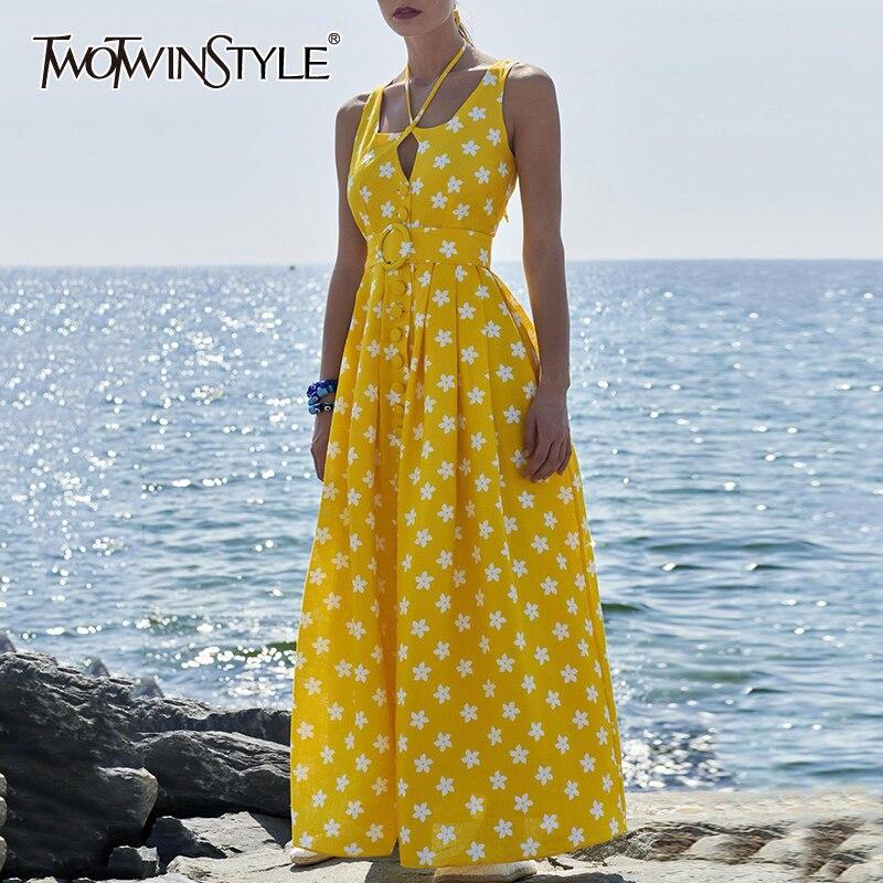 TWOTWINSTYLE 우아한 인쇄 여름 드레스 여성 O 넥 민소매 높은 허리와 새시 히트 컬러 드레스 여성 패션 조수