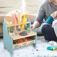 Kids Wooden Workbench Tools Set Multicolor Mini Simulation Kids Play Toy Parent-child Interactive Intelligence Development Toys