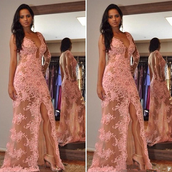 Sexy Deep V-neck Mermaid Prom Dress 2020 A-line Tulle Appliques Beaded Backless Women Long Formal Evening Dresses