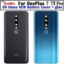 Oneplus 7T 뒷면 커버 용 새 배터리 커버 유리 도어 케이스 후면 7T Pro 하우징 1 개 + 7T Pro 배터리 커버 7T 유리