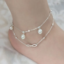 BOHO Cute Letter Love Gold Anklet & Bracelet Imitation Pearl Multilayer Leg Chain Ankle Braclet for Women Summer Beach Jewelry(China)