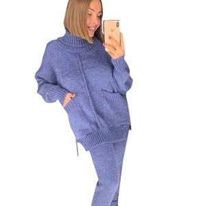 Image 3 - TAOVK 여성 가을 여성 니트 정장 중반 줄 지어 터틀넥 스웨터와 니트 바지 여성 2 조각 세트