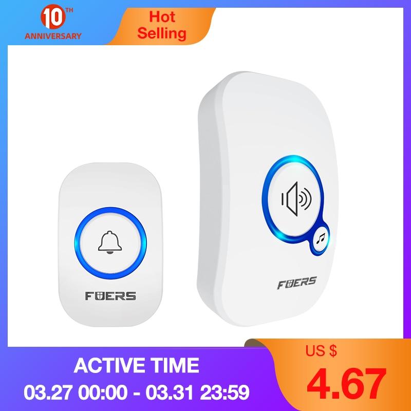 FUERS M557 Wireless Doorbell Home Security Alarm/ Welcome Smart Doorbell 3in1 Multi-purpose Door Button 433MHz Easy Installtion