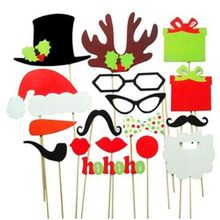 1 Set of 17pcs DIY Funny Colorful Glasses Moustache Red Lips Bow Ties Hats On Sticks Wedding Birthday Party Photo Booth Props(China)