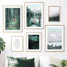 Forest Snow Mountain Plant Deer Quotes Wall Art  Canvas Painting Nordic Posters And Prints Pictures For Living Room Decor