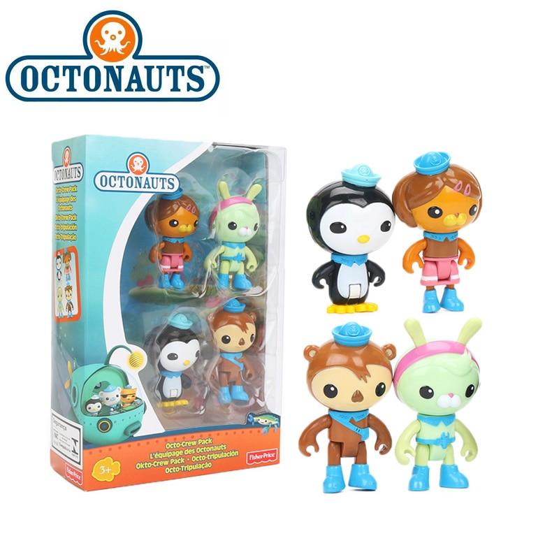 4pcs/set 7cm Octonauts Crew Pack Peso Shellington Tweak Dashi PVC Action Figure Set Octonauts Captain Barnacles Model Dolls Toy