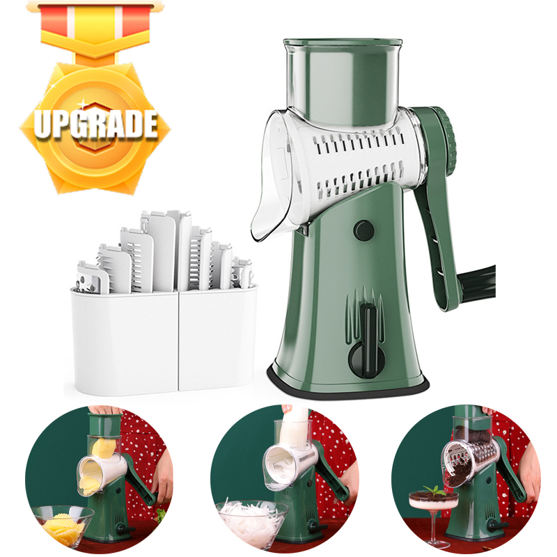 Newest Vegetable Cutter Slicer Machine With 5 Set Blades Potato Carrot Slicing Thick Wire Wavy Grinding Garlic Cheese Chopper