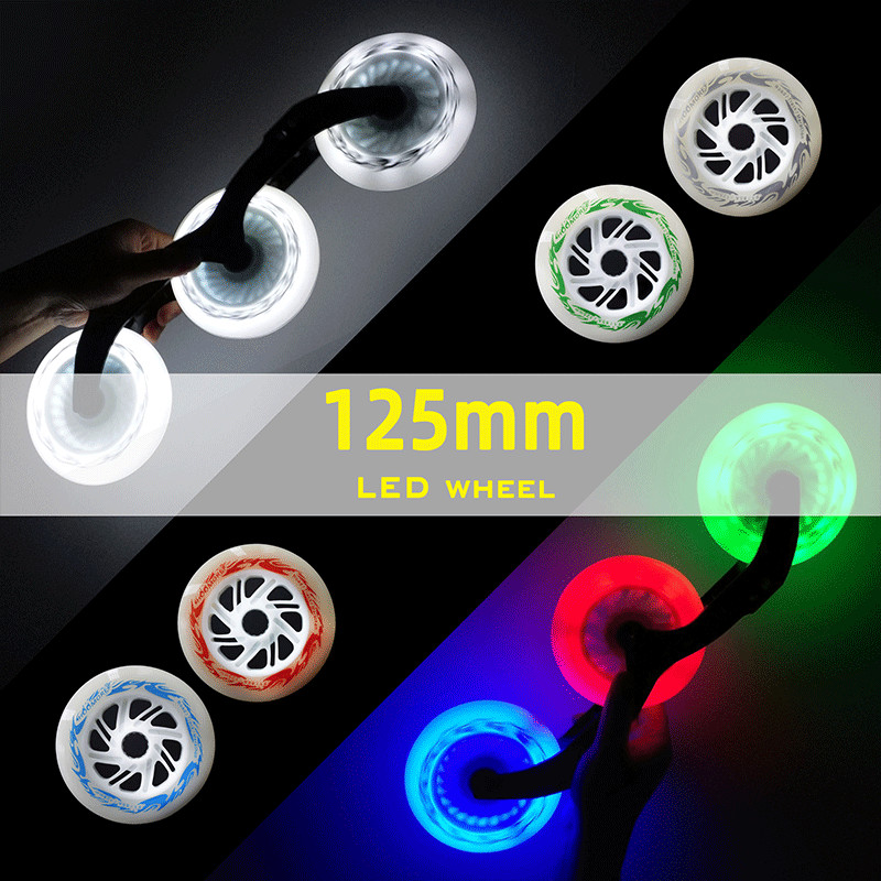 125mm*24mm LED Marathon Inline Speed Skating Wheels High Brightness Flash Shine Glue Skating Tire 125 Speed Wheel 6 Pcs/lot