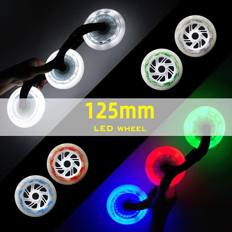 125mm*24mm LED Marathon Inline Speed Skating Wheels High Brightness Flash Shine Glue Skating Tire 125 Speed Wheel 6 Pcs/lot