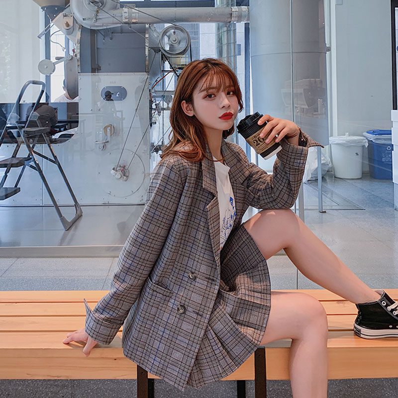 Women Vogue Plaid Skirt Suit Sets Two Piece Pleated Mini Skirt&Double Breasted Casual Loose Blazer Jacket Female Fashion Outwear