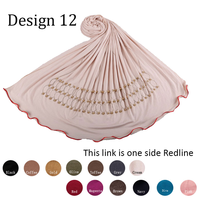 Red D12-Hot Selling Jersey Hijab Scarf With Stones And Pearl One Side Redline Stretchy Shawl For Netherlands Muslim Women