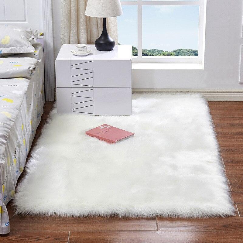 Tapete de lã artificial, tapete quadrado retangular macio de luxo macio, pele de carneiro, fofo, branco, de pele, shaggy, longo, decoração para casa