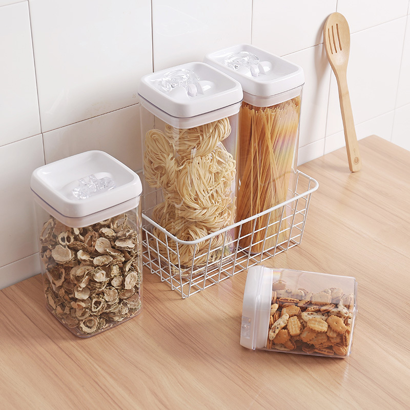 1pcs Kitchen Refrigerator Noodle Box Draw cereal container Lid Plastic Container Food Storage Crisper kitchen storage jars image