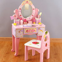 QWZ New Kids Girls Toys Simulation Wooden Dressing Table Gift for Girl Dressing Table For Baby Girl Children Pretend Play Toys