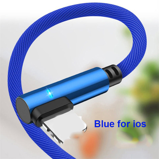URVNS Dual 90 Degree Fast Charging Cable Micro USB Type C Lightning For Samsung S8 S9 10 Xiaomi Huawei iPhone Charger Data Cable