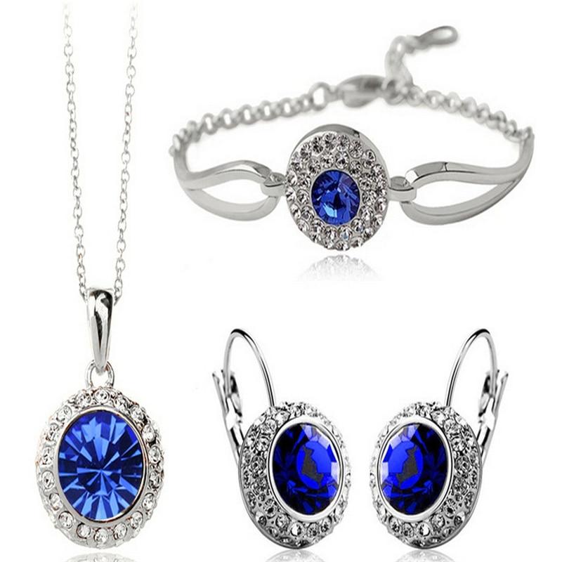 Gold Silver Color Jewelry Sets Bridal Necklace Earrings Bracelet Wedding Crystal Sieraden Women Fashion Rhinestone Jewellery Set