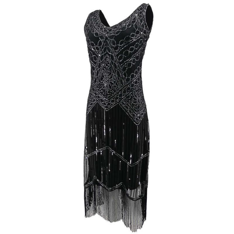 Women Party Dress Robe Charleston 1920s Great Gatsby Flapper Sequin Fringe Midi Dress Vestido Summer Retro Black Dress Vestido De Festa Women Party Dressdress Robe Aliexpress