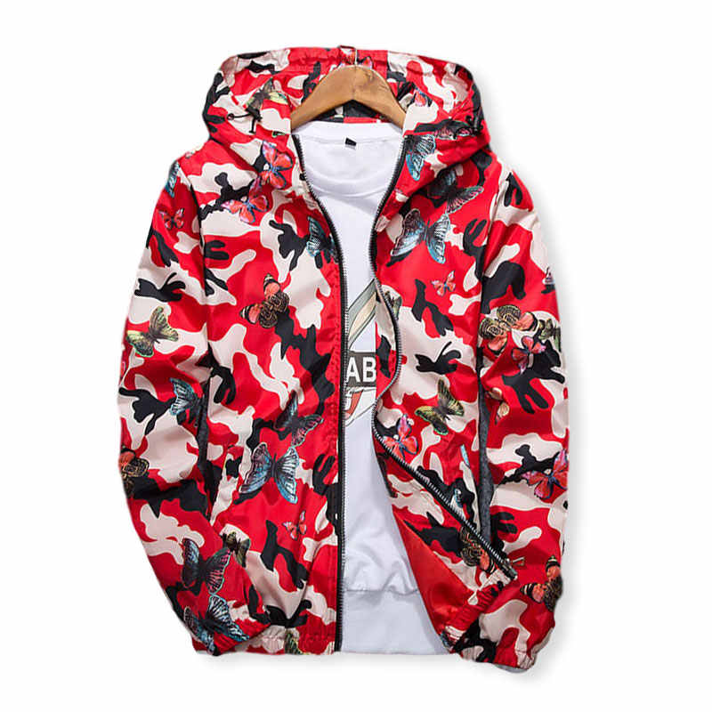 Lusumily 2020高品質女性ウインドブレーカージャケット春夏迷彩薄型女性迷彩バタフライウインドブレーカーコートフード付き