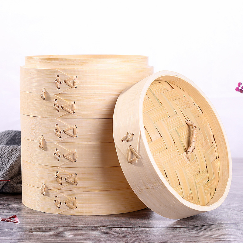 Three Cages One Cover Bamboo Steamer Snack Basket Set Kitchen Cooking Tools