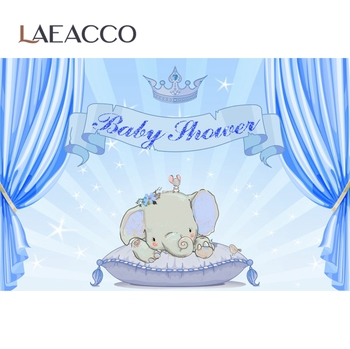 Laeacco Elephant Baby Shower Party Pink Curtain Gold Crown Photocall Family Shoot Photography Backgrounds Photo Backdrops balloons birthday party ribbons family shoot poster baby portrait photo backgrounds photography backdrops photocall photo studio