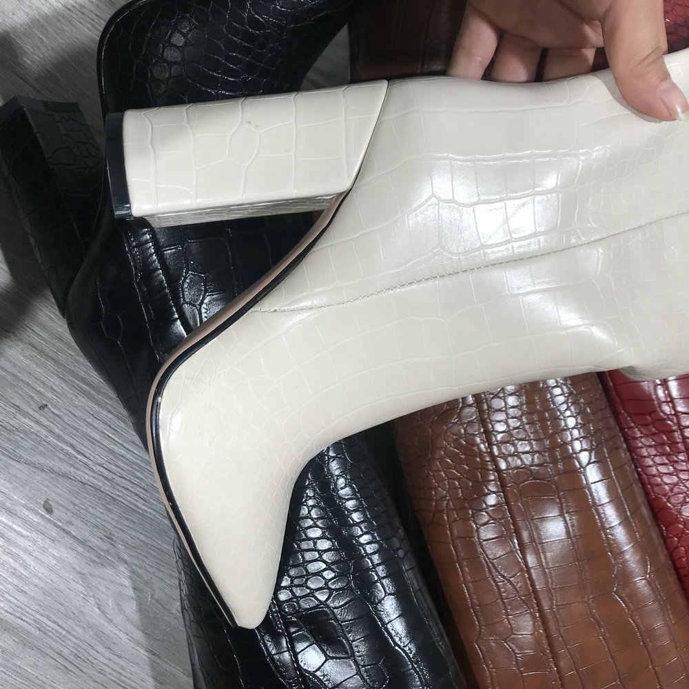2019 PU deri bayan diz yüksek çizmeler kış ayakkabı sivri burun tıknaz topuk uzun çizmeler siyah bej kahverengi kırmızı sarı çizmeler