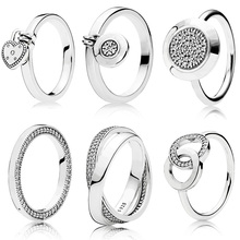 100% 925 Sterling Silver Women Silver Color Color Rings Jewelry