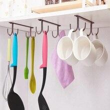 Mug-Rack for Bar Kitchen Brown Cup-Holder Drying-Hook Hanging-Cups Under-Shelf Display