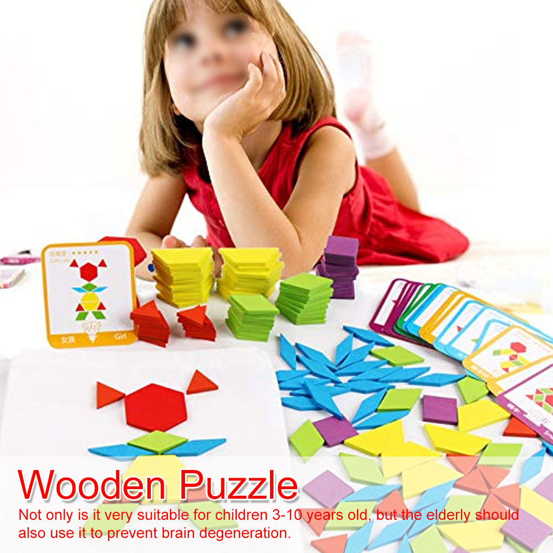 155pcs/set Colorful Wooden Tangram Puzzle Toys Geometric Shape Game Funny Creativity Jigsaw Baby Preschool Educational Kids Toy