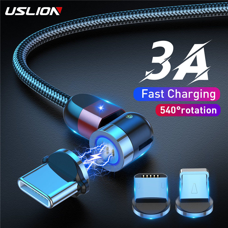USLION Magnetic Cable Micro USB 540 Rotation Charging Type C  3A Fast Charging For iPhone 11 Pro Max 8 7 Plus Xr Samsung Xiaomi|Mobile Phone Cables|   - AliExpress