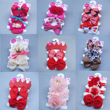 3 Pcs/Set New Baby Hair Accesories Fashion Cute Flower Bows Hairbands Newborn Band Headbands Jewelry Gifts Wholesale
