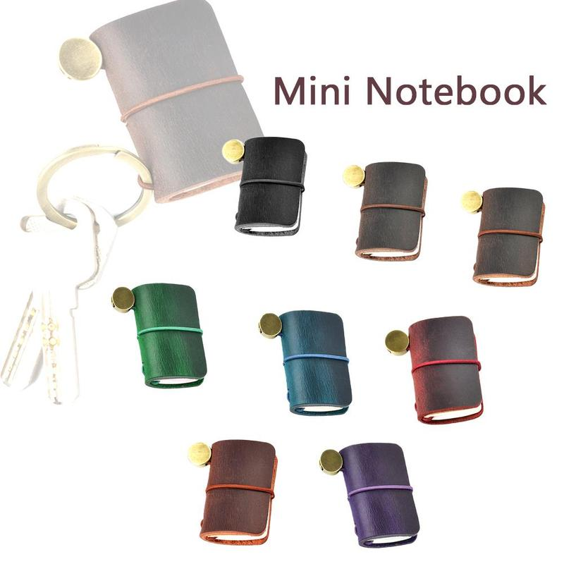 1PC Handnote Genuine Leather Notebook Mini Cute Travel Decoration For Vintage Stationery Cute Journal Little Pendant Diary