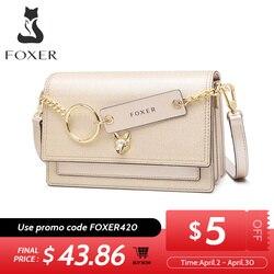 Сумка через плечо FOXER Split Learther, модная сумка через плечо, брендовый логотип, мини кошелек, новый и Экзотический стиль, женская сумка на плечо ...