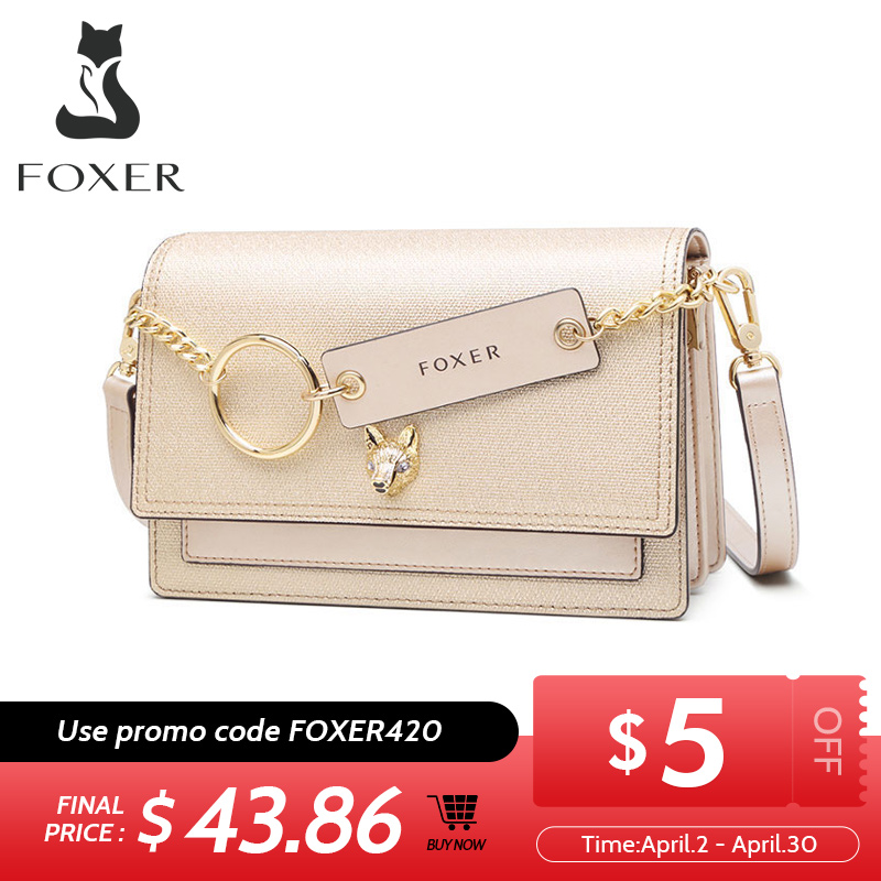 FOXER Split Learther Crossbody Bag Fashion Shoulder Bag Brand LOGO Mini Purse New And Exotic Style Women Shoulder Bag 953068F
