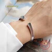 Leouerry 925 Sterling Silver Triangular Prism Frosted Open Cuff Bangles for Women Simple Fashion Charms Silver 925 Jewelry Gifts