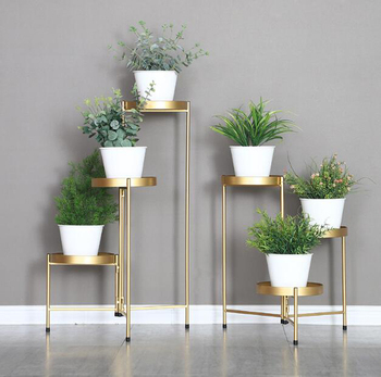 Creative golden iron flower stand home living room decor multi layer folding floor stand modern indoor balcony flower pot stand flower stand flower pot rack single floor type wrought iron european style indoor living room hanging orchid plant rack