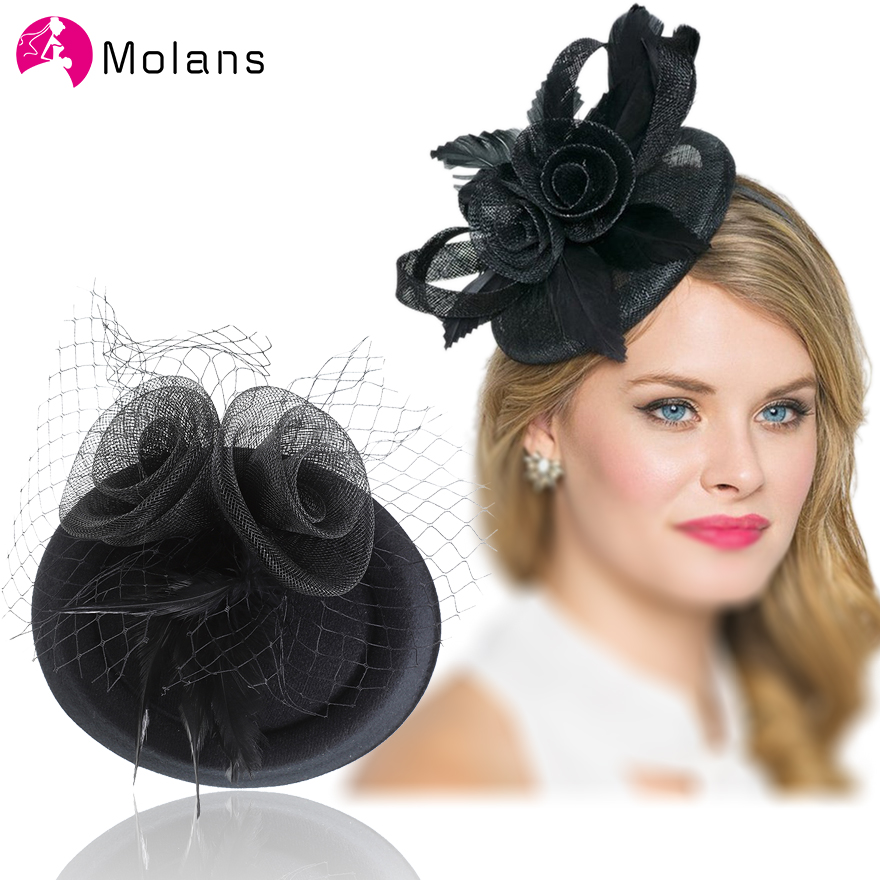 Molans 2020 Ideas Vintage Wedding Veil Headpieces Bridal Fascinators Elegant Church Party Black Floral Feather Hair Clips Pearls