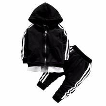 Spring Baby Casual Tracksuit Children Boy Girl Cotton Zipper Jacket Pants 2Pcs/Sets Kids Leisure Sport Suit Infant Clothing недорого