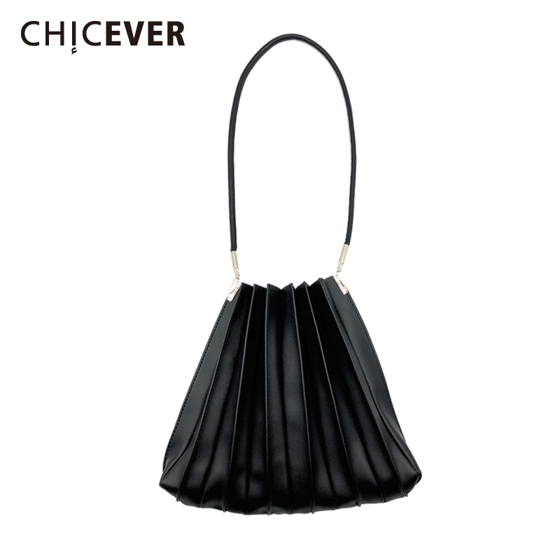CHICEVER Korean PU Leather Women's Bag Patchwork Metal Crossbody Pleated Bags Female 2020 Fashion Wild Clothing Accessories New