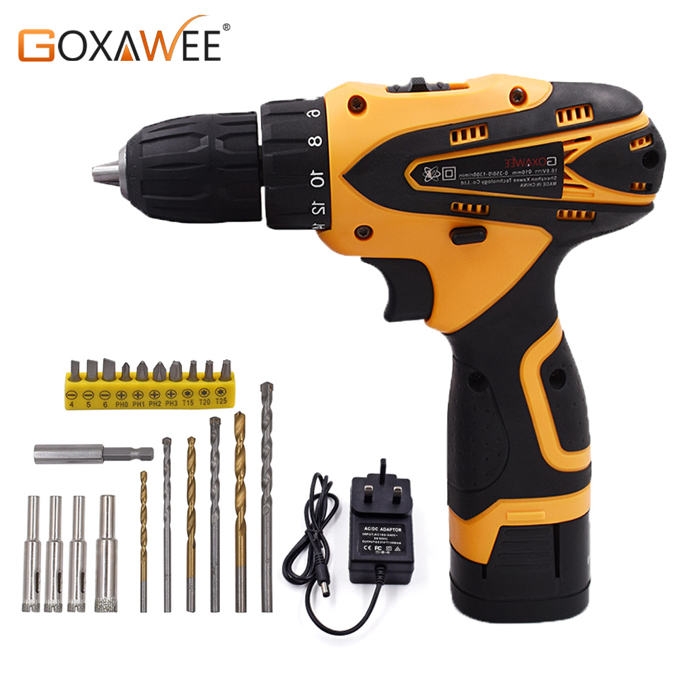 GOXAWEE 12V Electric Drill Cordless Screwdriver Mini Drill Lithium Battery Power Tools Cordless Drill Drilling Machine 2-Speed