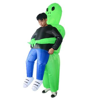 2018 New Inflatable Costume green alien Adult kids Funny Blow Up Suit Party Fancy Dress unisex costume Halloween Costume 1